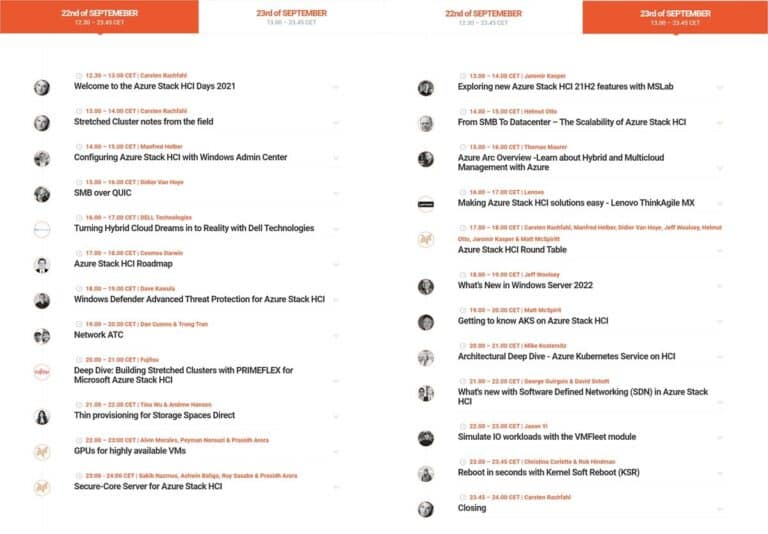 Azure Stack HCI Days 2021 Agenda
