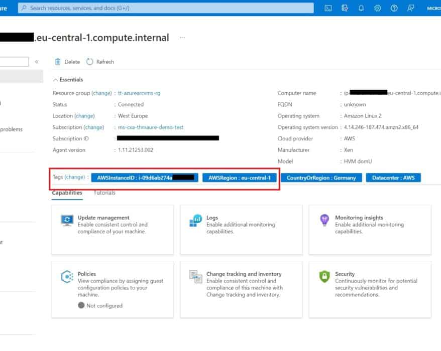 Azure Arc enabled Server AWS Linux machine with automatic tags