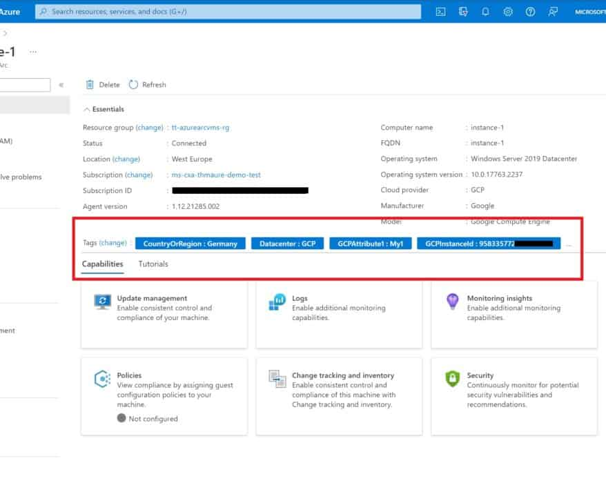 Azure Arc enabled Server GCP VM Instance Windows Server machine with automatic tags